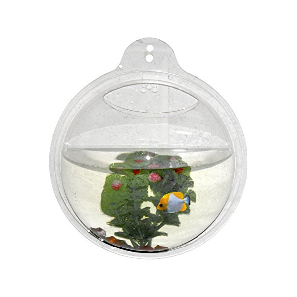 Abyss Pets Wall Mounted Hanging Fish Bowl Aquarium Tank for Gold Fish and Beta Fish, 10""