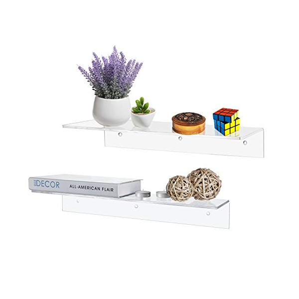 17 Inch Contemporary Clear Acrylic Floating Shelf / Wall Mounted Display Organizer, Set of 2