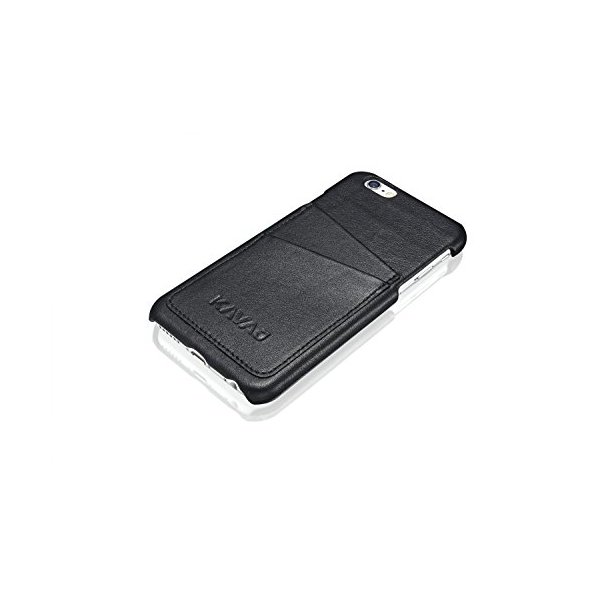 "KAVAJ leather case back cover ""Tokyo"" for the iPhone 6S and iPhone 6 4.7 inch black - genuine leather overlay on PC back cover with business card compartment. Slim back cover as premium accessory for the original Apple iPhone 6/6S doubles as a wallet."