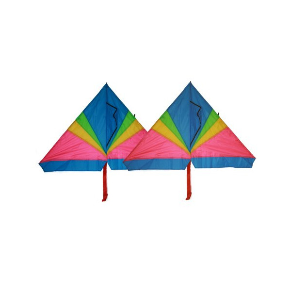 Rainbow delta kite (2 sets) 46 inch x 28 inch with long tails with flying line and handle