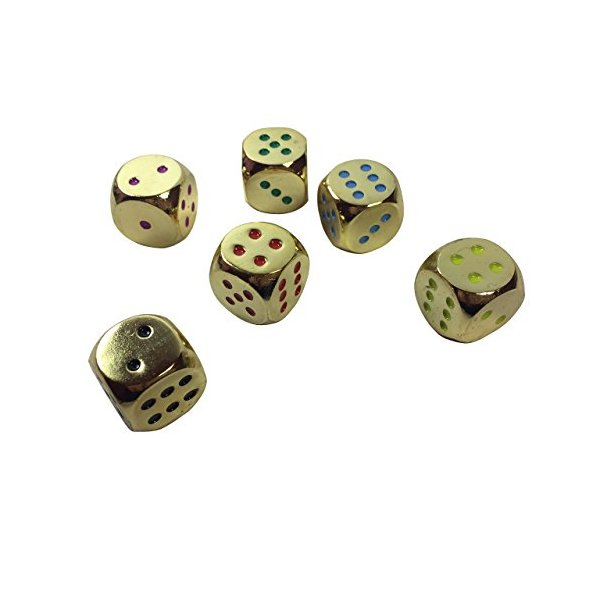 Set of 6 Solid Zinc Alloy Metal Dice (16mm) D6 (gold color with assorted color pips)