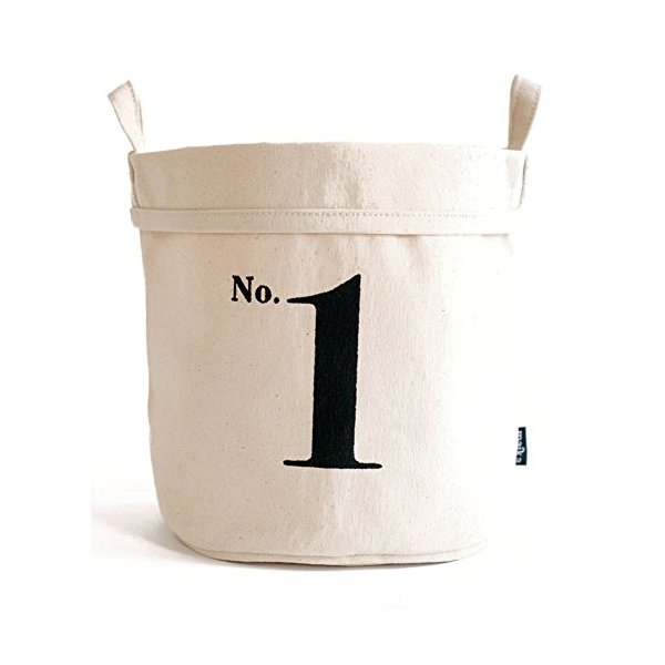 Chewing the Cud NUM1-514B-S Recycled No. 1 Canvas Bucket, Small, Black/Natural