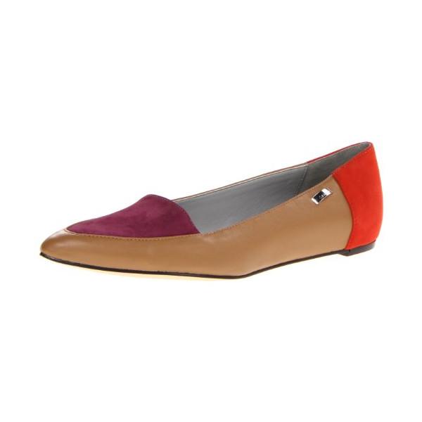 Calvin Klein Women's Bina SS Flat,Camel/Dark Purple,5.5 M US