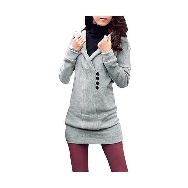 Ladies Shawl Collar Pullover Tunic Casual Sweater (S (US 4), Light Gray)