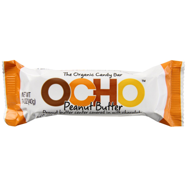 OCHO Candy Organic Candy Bar, Peanut Butter, 1.4 Ounce