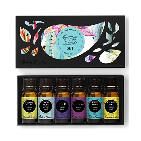Synergy Blends- (Breathe Easier, Good Night, Hope, Relaxation, Stress Relief & Sunshine Spice) Top 6 Basic Sampler Pack Pure Therapeutic Grade Essential Oil Gift Set by Edens Garden- 6/10 ml