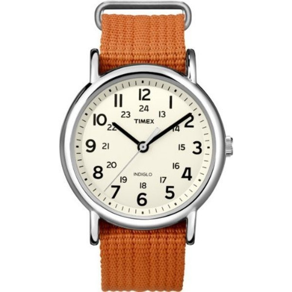 Timex Unisex Weekender Slip Thru Orange Nylon Strap Watch