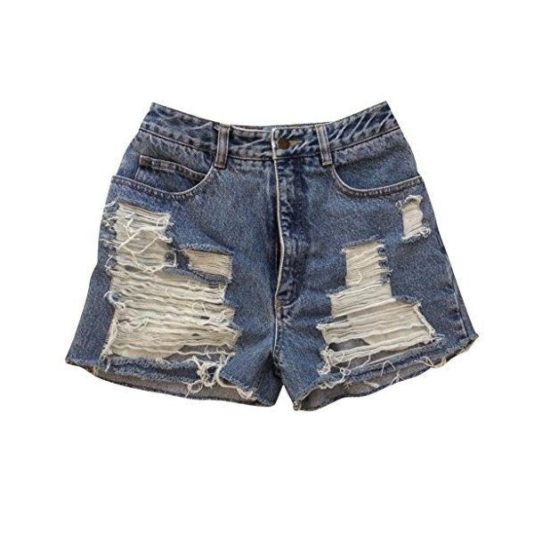 Summer Sky High Rise Distressed Denim Shorts Wrangler's Vintage Shredded-L
