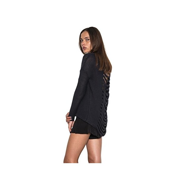 Womens Long Sleeve Blaine Pullover Sweater Ripped Exposed Back Navy-S