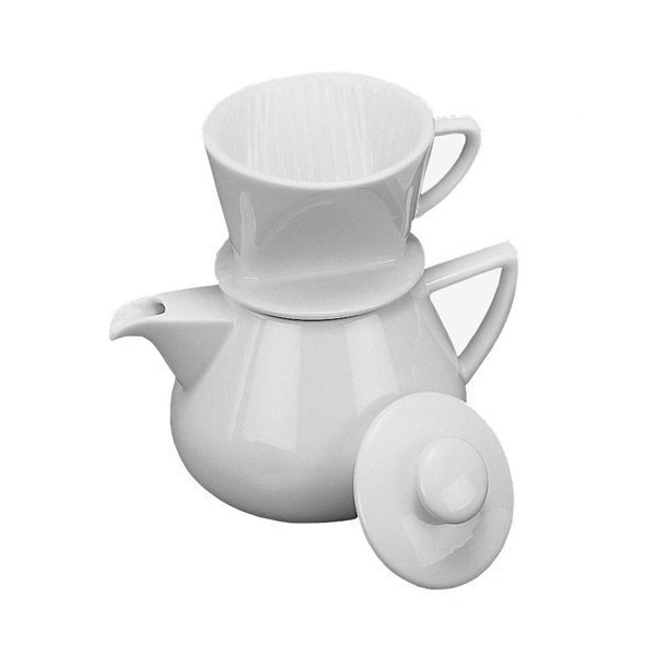Coffee Maker - Drip with Pot, White Porcelain 19oz.