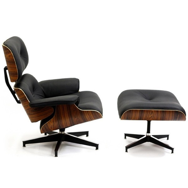 LexMod Eames Style Plywood Lounge Chair & Ottoman, Black Leather