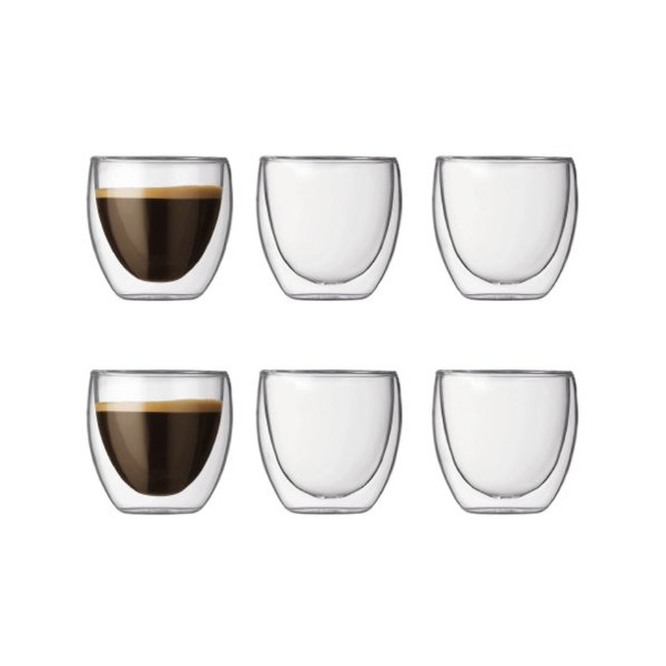 Bodum Set of 6 PAVINA Double Wall Glasses 0.08l, 2.5oz