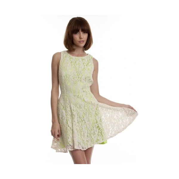 Lush Women's Nikki BabyDoll Lace Overlay Doll White Neon Green Short-L
