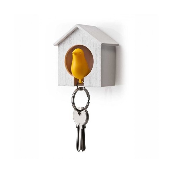 Birdhouse Key Ring - White House with Yellow Bird