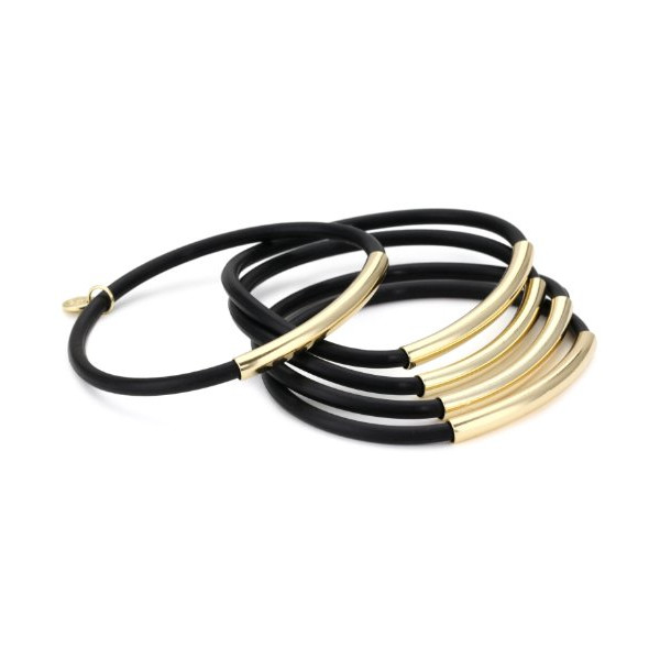 "Jules Smith ""Wrapped Up"" Set of Five 14k Gold-Wrapped Black Jelly Bangle Bracelets, 8.5"""