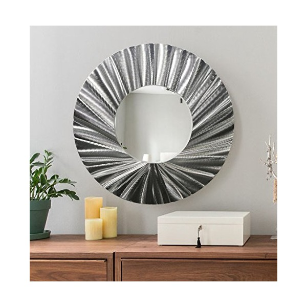 Large Round Silver Modern Metal Wall Mirror - Contemporary Metallic Wall Art - Home Decor Accent Hanging by Jon Allen - Mirror 118
