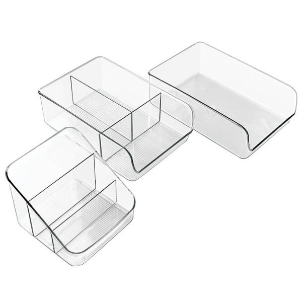 InterDesign Linus Kitchen, Pantry, Refrigerator, Freezer Storage Organizer Bins - Set of 3, Clear