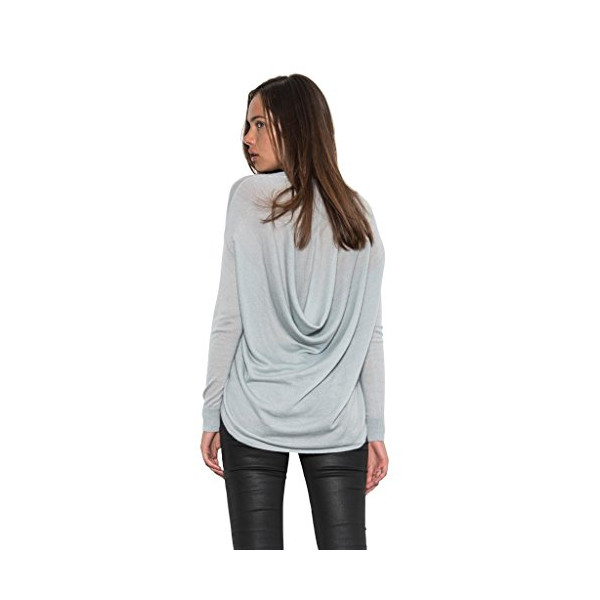Women Plunge Back Drape Luxe Fine 100% Cashmere Lt Blue Sweater One Grey Day-M