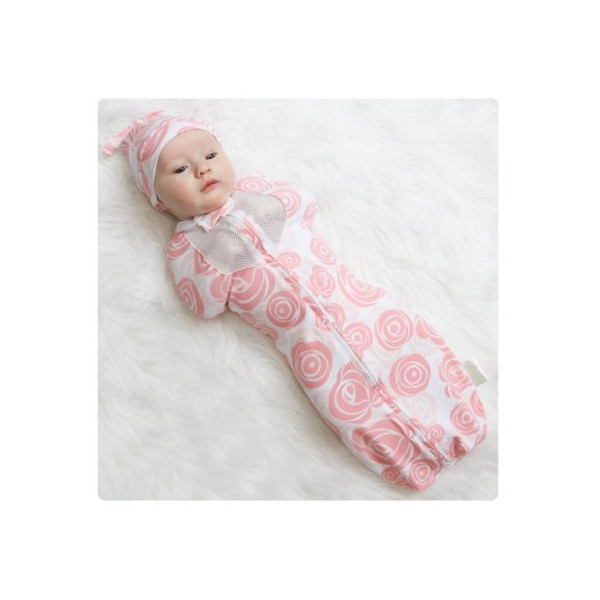 Woombie Air Ventilated Baby Swaddle ~ Choose Size/Color (Newborn 5-13 lbs, Roses)
