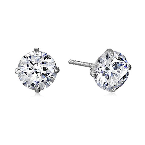10k White Gold Round-Cut Swarovski Zirconia Stud Earrings (1 cttw)