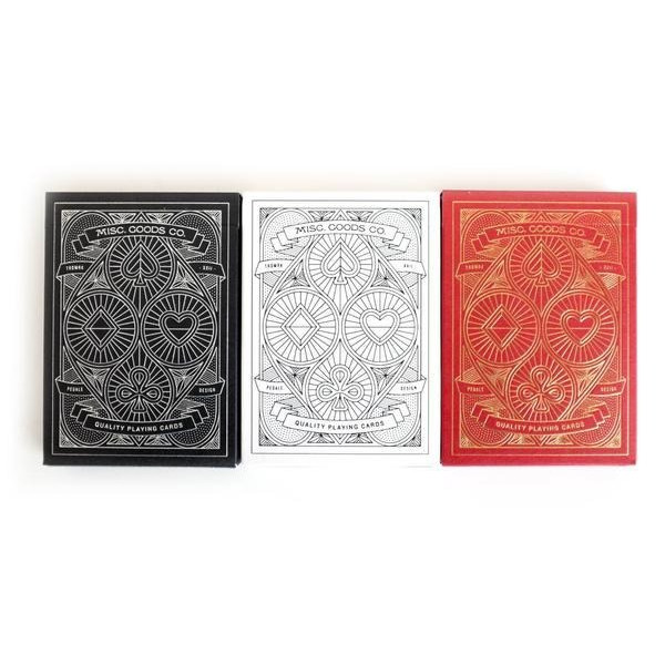 Set of 3 Red White & Black Misc. Goods Co. Playing Cards Deck Printed By Uspcc