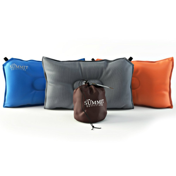 """Summit Outfitters Airpak Lightweight Compressible Self Inflating Air Pillow (20""""x12"""") - Designed for Camping, Hiking, Backpacking, Travel and Outdoor Festivals - Orange"""