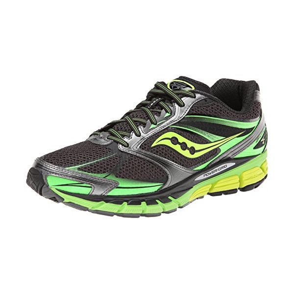 Saucony Men's Guide 8 Running Shoe,Black/Slime/Citron,7 M US