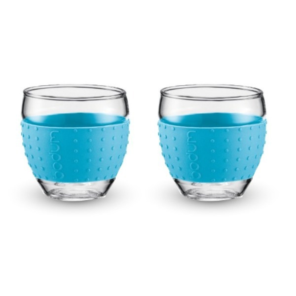 Bodum Pavina Glasses with Silicone Grip, Blue, Set of 2