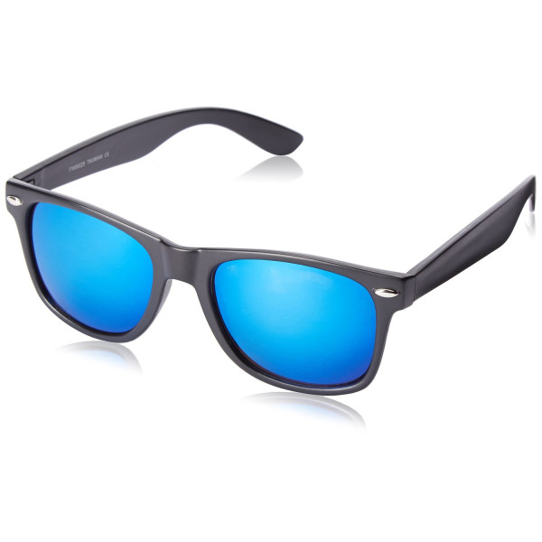 Flat Matte Reflective Revo Color Lens Large Horn Rimmed Style Sunglasses - UV400 (Black Ice)
