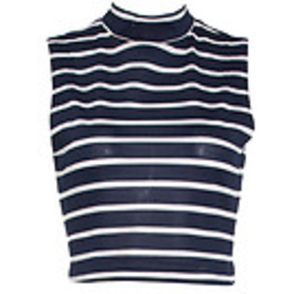 JOA Striped Knit Crop Top, Navy