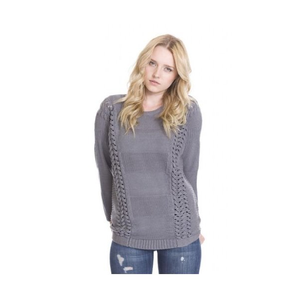 Ory Braided Panel Knit Pullover Designer Wool Sweater Women by One Grey Day Gray-L