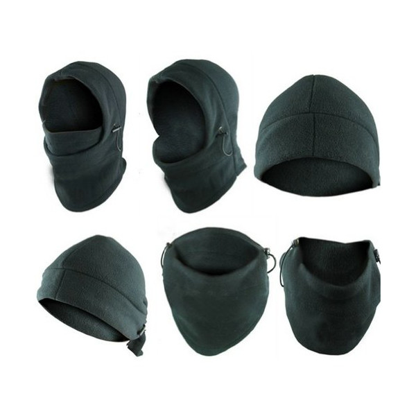 6-in-1 Neck Warmer Hoods Ski Motor Hat Thermal Balaclava Scarf Fleece Face Cs Mask