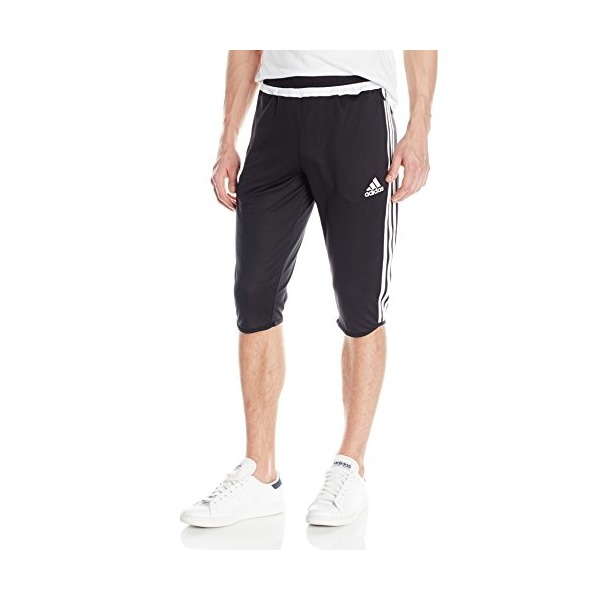 adidas Performance Men's Tiro Three-Quarter Pant, Small, Black/White/Black