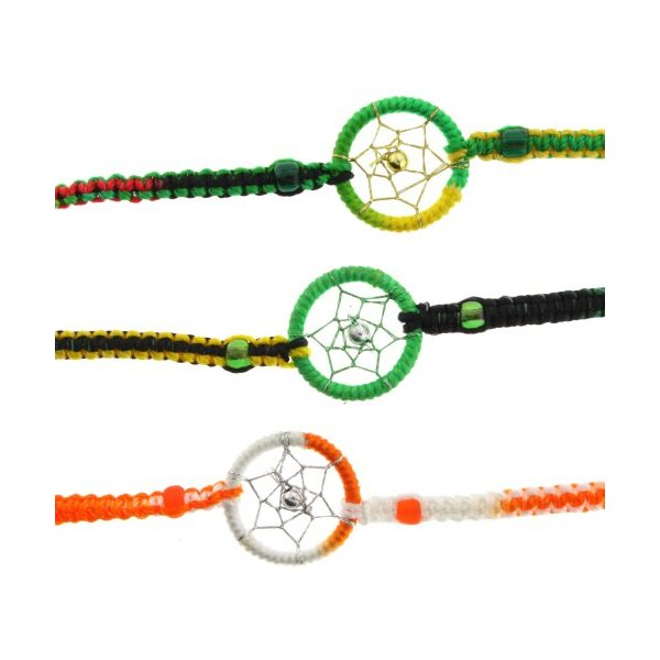 Dream Catcher Hand Woven Bracelets - Orange/White, Rasta - Ideal Friendship Bracelets - Sold as a Set of 3