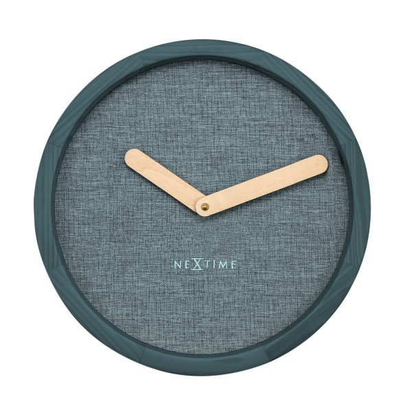 Unek Goods NeXtime Calm Wall Clock, Natural Wood Frame and Hands, Soft Turquoise Fabric Face, Battery Operated, Round