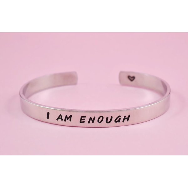 I AM ENOUGH - Hand Stamped Aluminum Cuff Bracelet, Best Friends Jewelry, Besties Adjustable Skinny Bracelet, Inspirational Message Bracelet