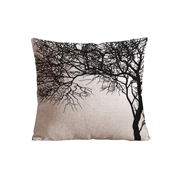OneHouse White and Black Branch Square Cotton Linen Pillow Cover, Tree Branch