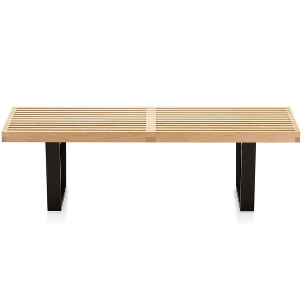 Nelson Style Natural Wood Platform Bench / Table, 4 foot