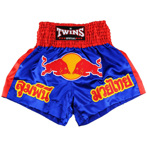 Twins Special Red Bull Muay Thai Shorts - Blue/Red-Large