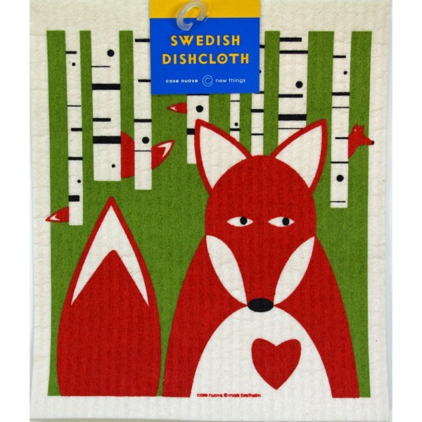 Swedish Dishcloth - Fox in Birches