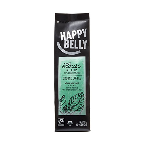 Happy Belly House Blend Organic Fairtrade Coffee, Medium Dark Roast, Ground, 12 ounce