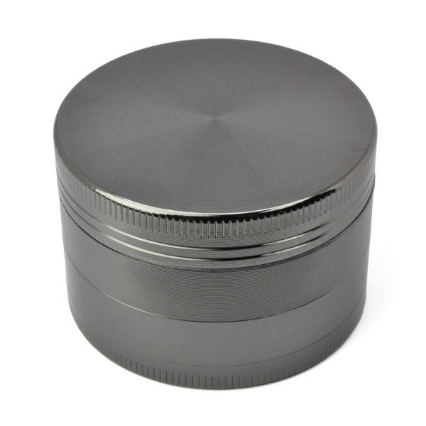 "Golden Bell 4 Piece 2"" Tobacco Spice Herb Weed Grinder - Color:Nickel Black"
