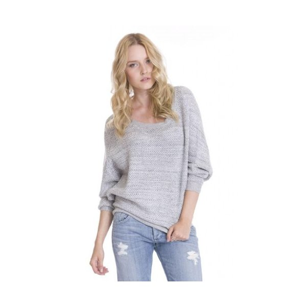 Women's Hana Marled Gray Casual Knit Pullover Dolman Sweater by One Grey Day-L