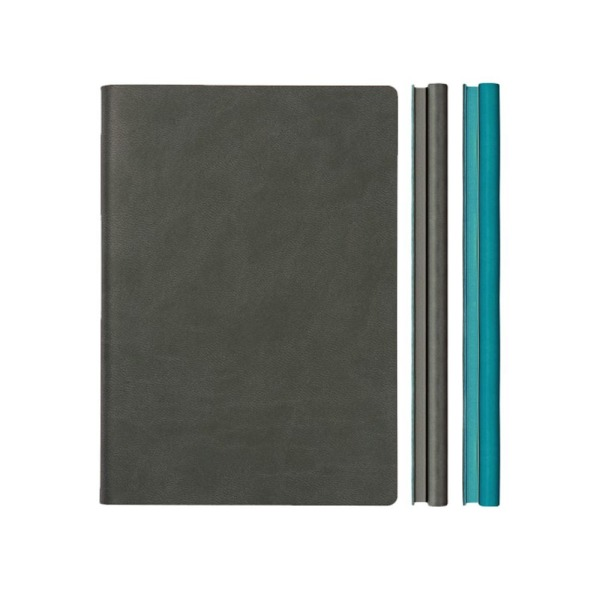 "ORIGINAL And Unique Daycraft Signature Duo NOTEBOOK SKETCHBOOK - A5, Half Dotted Pages, Half Lined Pages, Grey/Blue - 8.3"" x 6"""