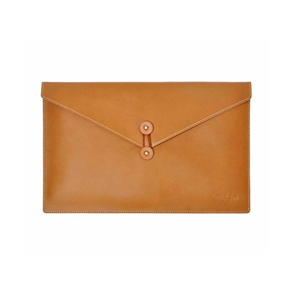 Zlyc Handmade Customized Vintage Leather Envelope Bag Laptop Bag for MacBook Air Camel, M