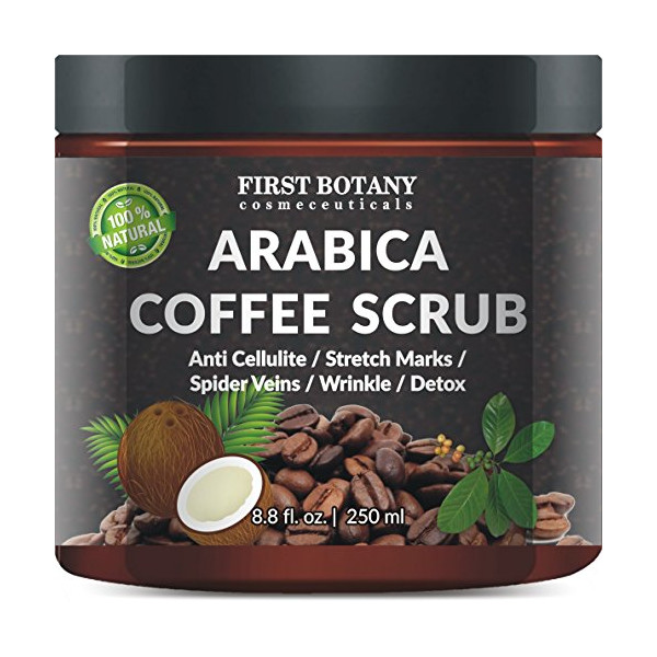 100% Natural Arabica Coffee Scrub 12 fl. oz. with Organic Coffee, Coconut and Shea Butter - Best Acne, Anti Cellulite and Stretch Mark treatment, Spider Vein Therapy for Varicose Veins & Eczema