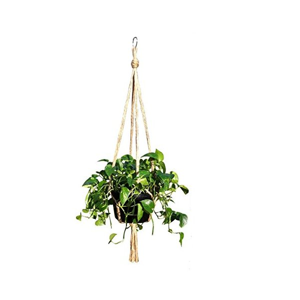 Plant Hanger Jute 4 Leg 48 Inch Extra Strength Indoor Outdoor Decorative Plants Hanging Baskets Manufactured By Crows Nest Macrame 4L-48