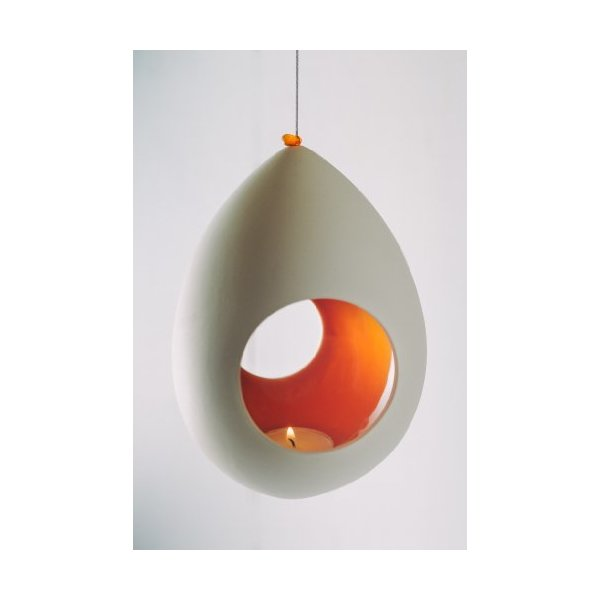 Hinterland Trading Ceramic Hanging Orange Glazed Egg Candle Holder