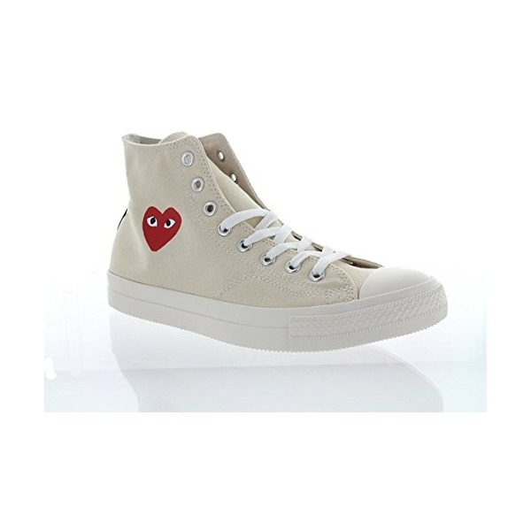MENS Comme Des Garçons Play Heart Logo Converse Edition High-top Sneakers, OFF White (7)