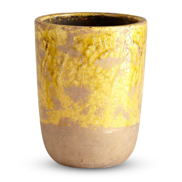 Cyan Design Large Ceramic Planter, Yellow Glaze